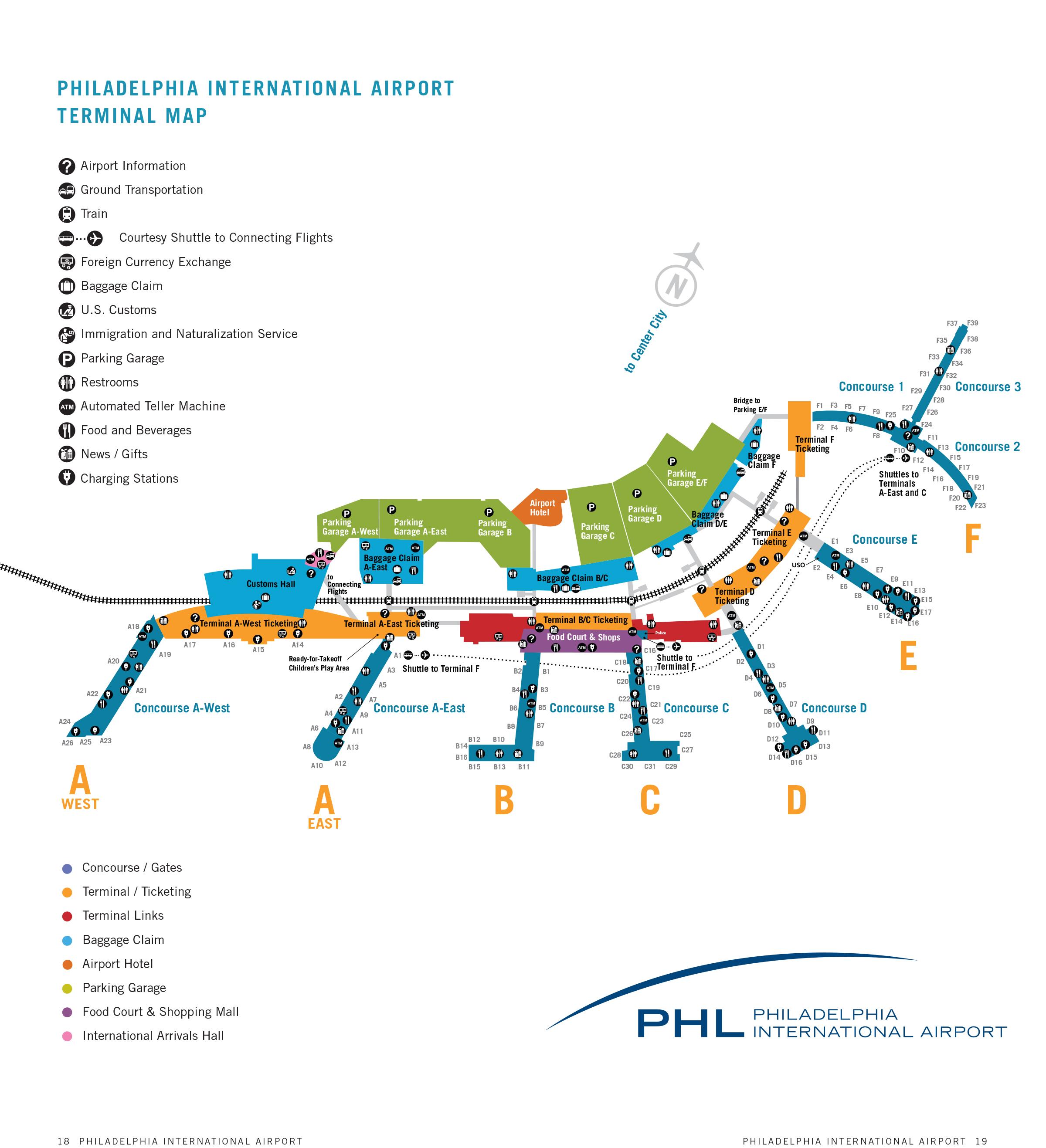 Philadelphia International Airport Map (PHL) - Printable Terminal ...