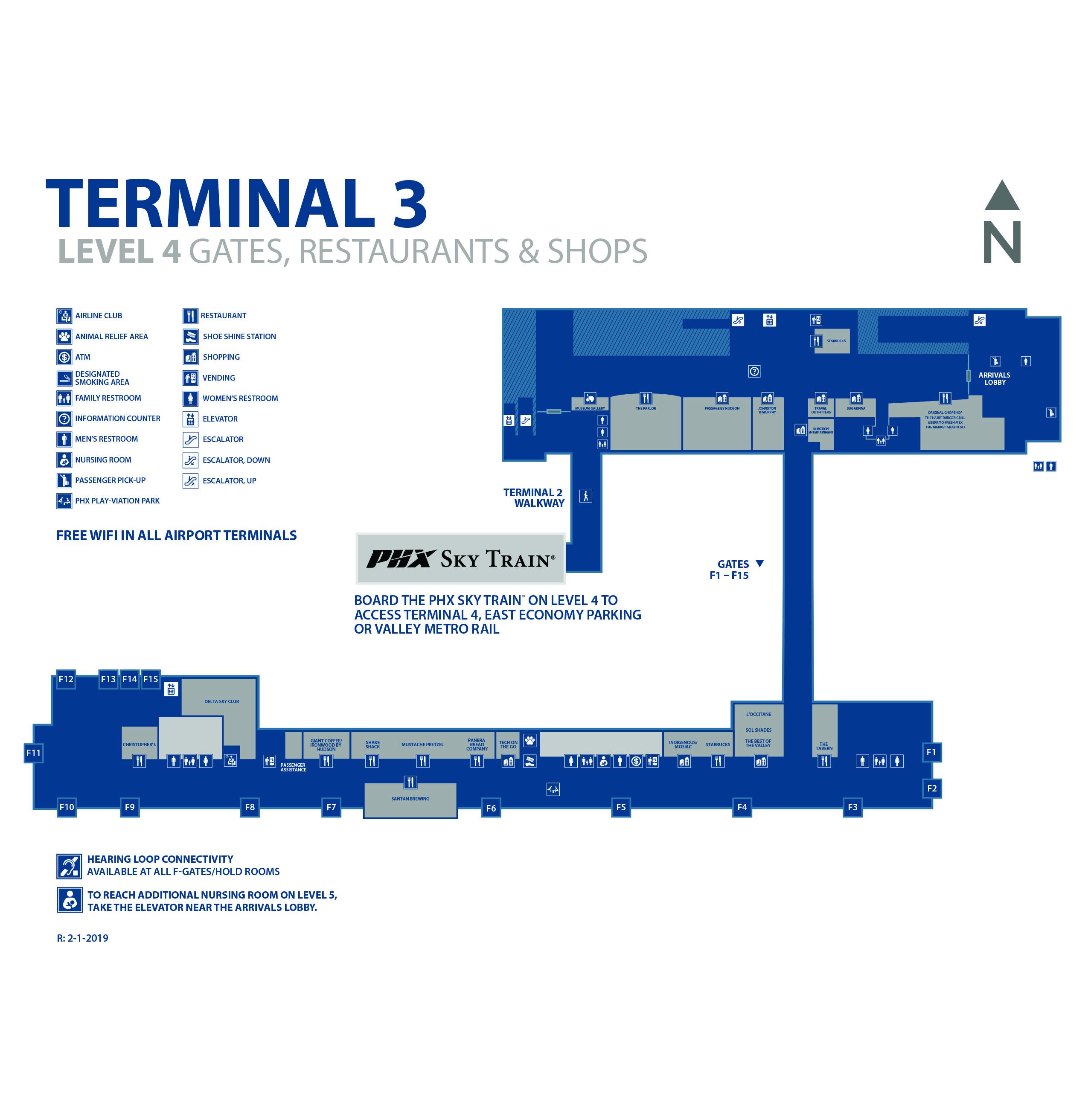Phoenix Sky Harbor Airport Map (PHX) - Printable Terminal ...