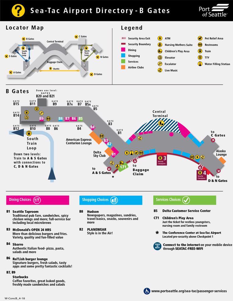 Seattle-Tacoma International Airport Map (SEA) - Printable ...