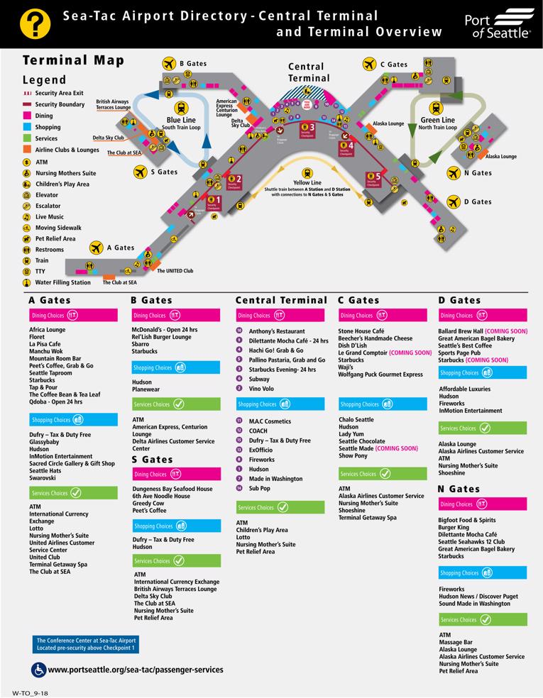 Seattle-Tacoma International Airport Map (SEA) - Printable Terminal on