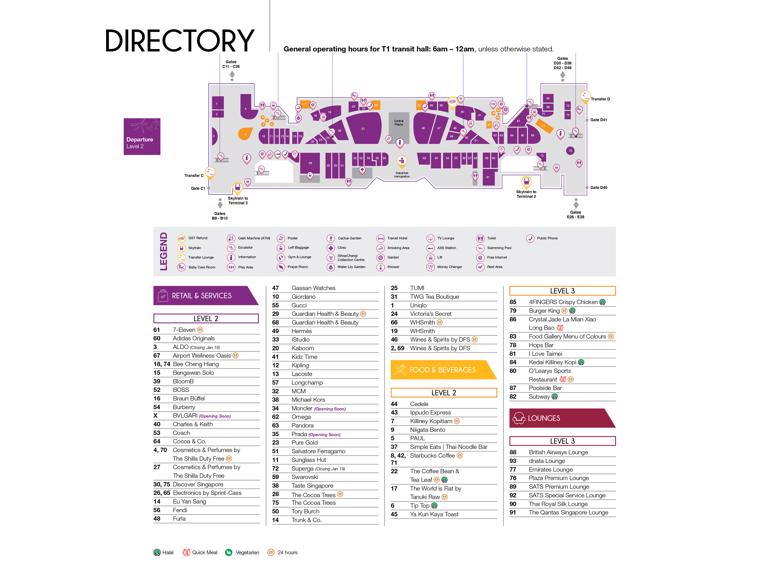 Changi Airport Singapore Sin Terminal Maps Shops Restaurants Food Court 2021