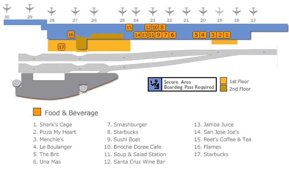 San Jose Airport Map (SJC) - Printable Terminal Maps, Shops ...