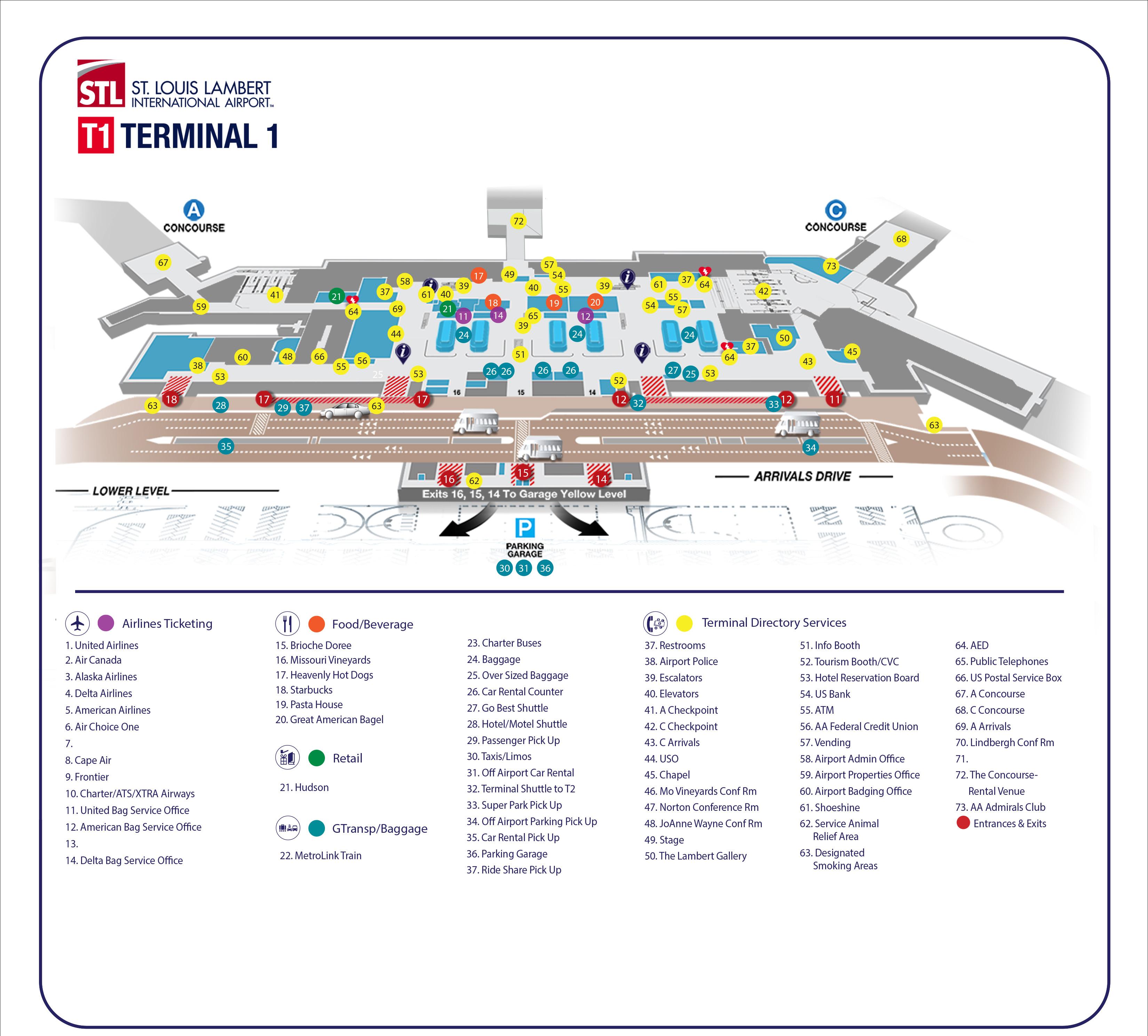 Lambert-St. Louis Airport Map (STL) - Printable Terminal ...