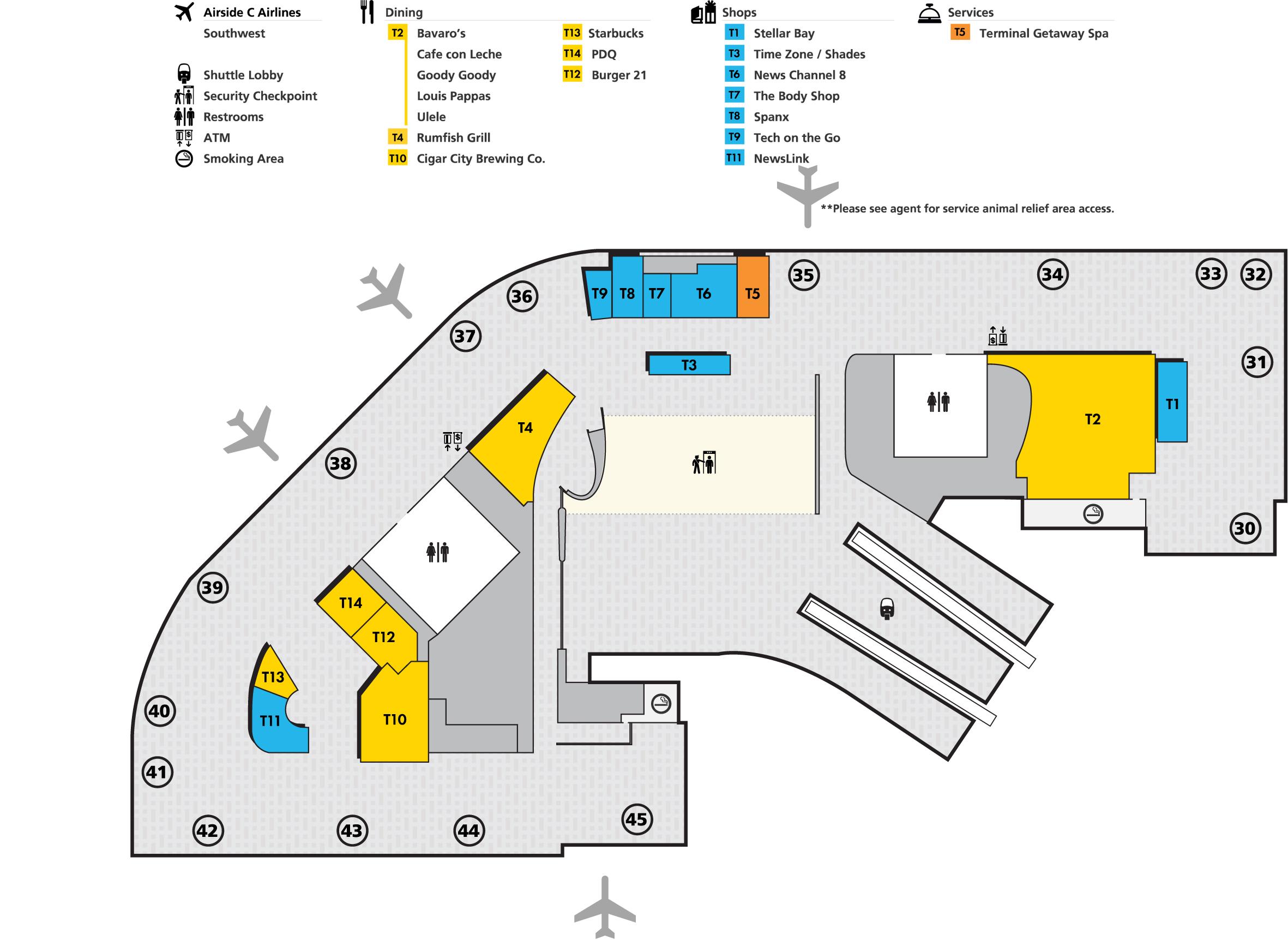 tampa airport map (tpa) - printable terminal maps, shops