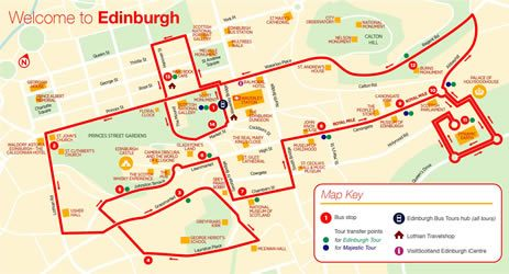 city sightseeing edinburgh map