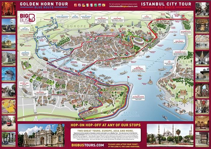Istanbul Bigbus Hop-On Hop-Off Bus Tour Map