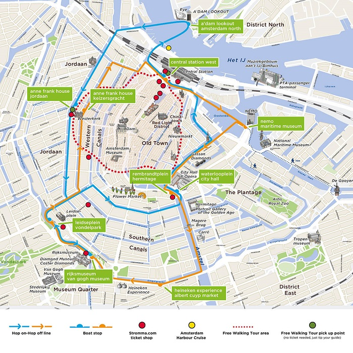 Amsterdam Hop-On Hop-Off Map