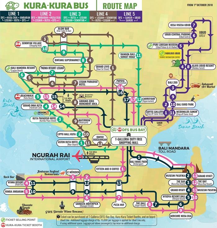 Bali Kura Kura Hop-On Hop-Off Bus Tour Map