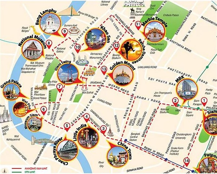 Bangkok Hop-On Hop-Off Bus Tour Map
