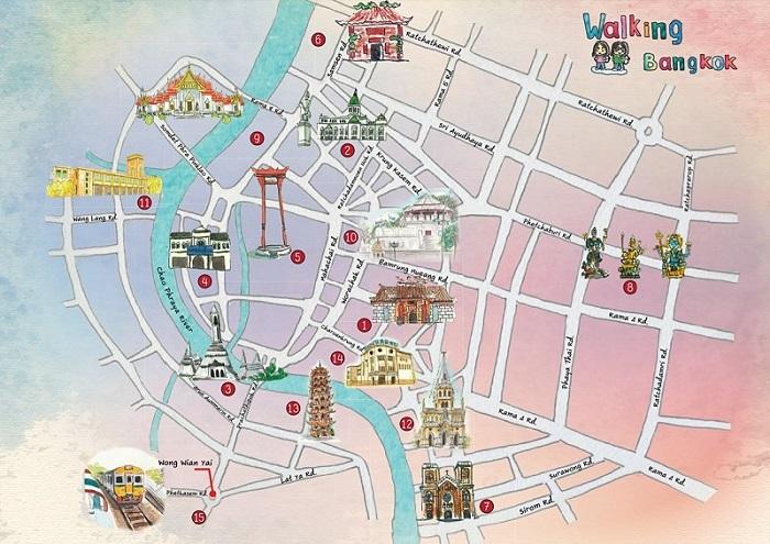 Bangkok Walking Tour Map