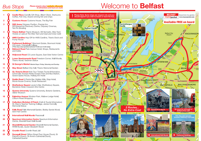 Belfast Hop-On Hop-Off Bus Tour Map