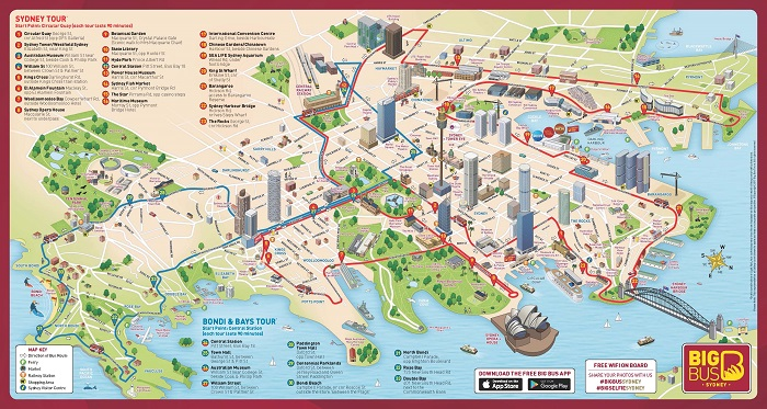 Big Bus Sydney and Bondi Bus Tour Map