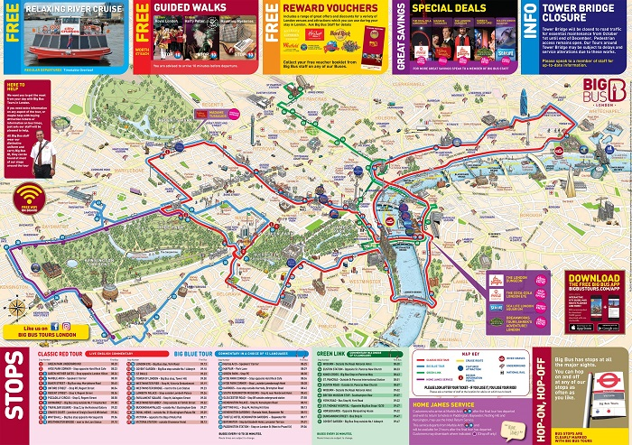 London Big Bus Hop-On Hop-Off Bus Tour Map