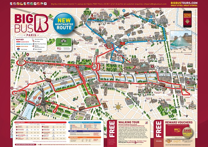 Big Bus Paris Hop-On Hop-Off Bus Tour Map