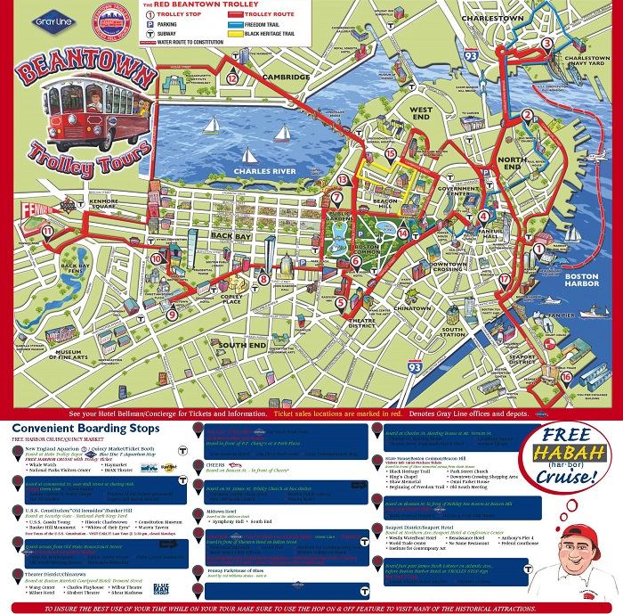 Boston Hop-On Hop-Off Bus Tour Map