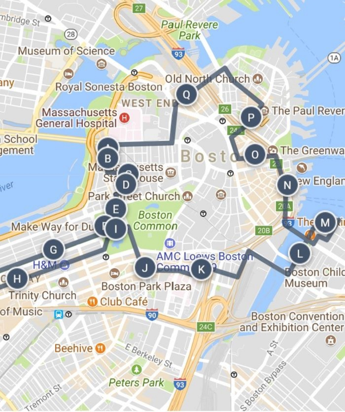Boston Walking Tour Map