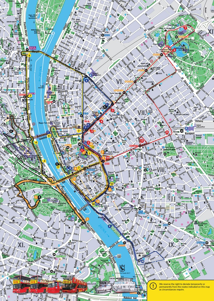 Budapest Hop-On Hop-Off Tour by Bus & Boat Map