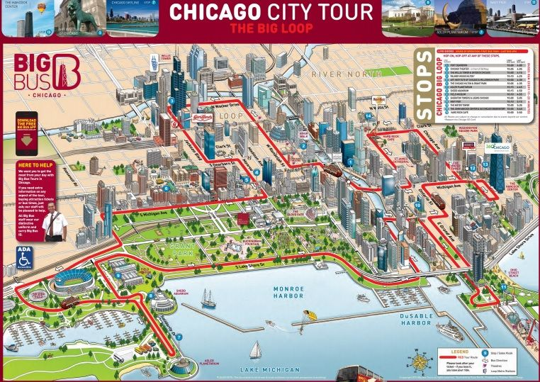Chicago Bigbus Hop-On Hop-Off Bus Tour Map