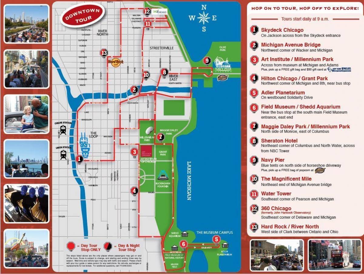 Chicago Hop-On Hop-Off Bus Tour Map