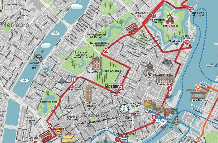 Copenhagen Redbus Hop-On Hop-Off Bus Tour Map