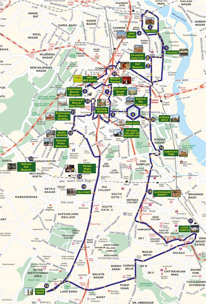 Delhi Hop-On Hop-Off Bus Tour Map