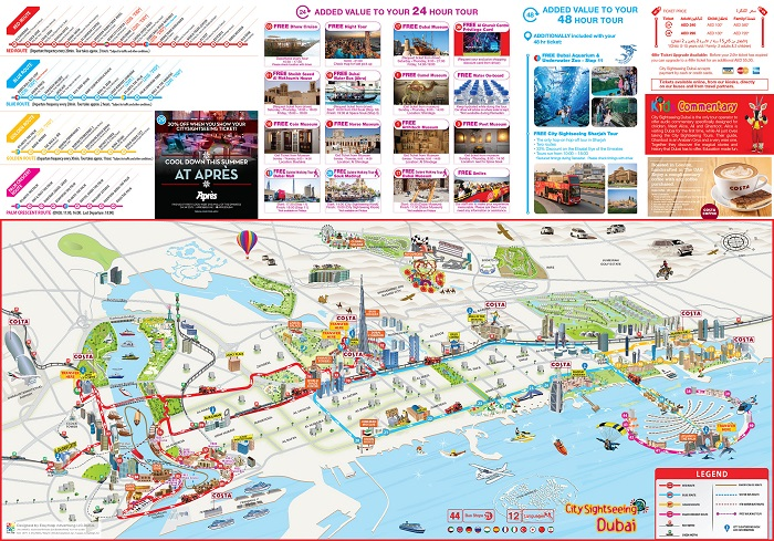 Dubai City Sightseeing Bus Tour Map
