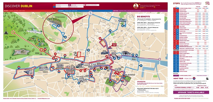 Dublin Bigbus Hop-On Hop-Off Bus Tour Map
