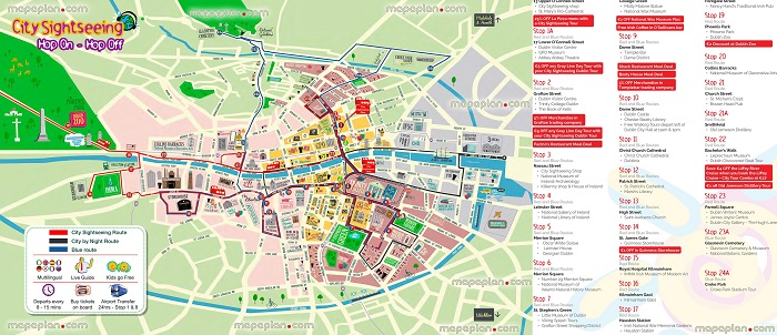 Dublin City Sightseeing Hop-On Hop-Off Bus Tour Map