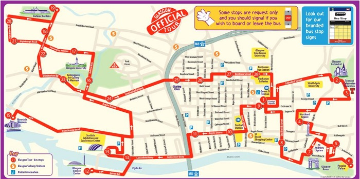 Glasgow Hop-On Hop-Off Bus Tour Map