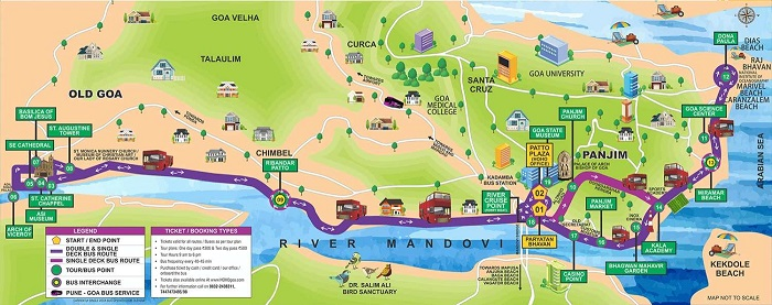 Goa Hop-On Hop-Off Bus Tour Map