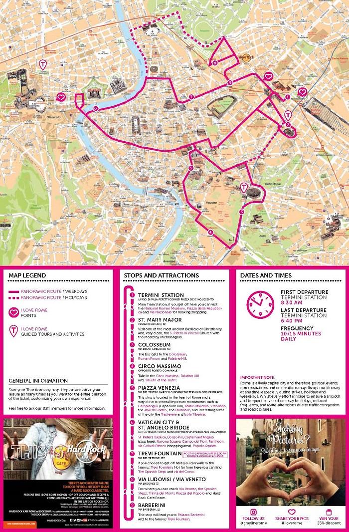 I love Rome Gray Line Bus Tour Map