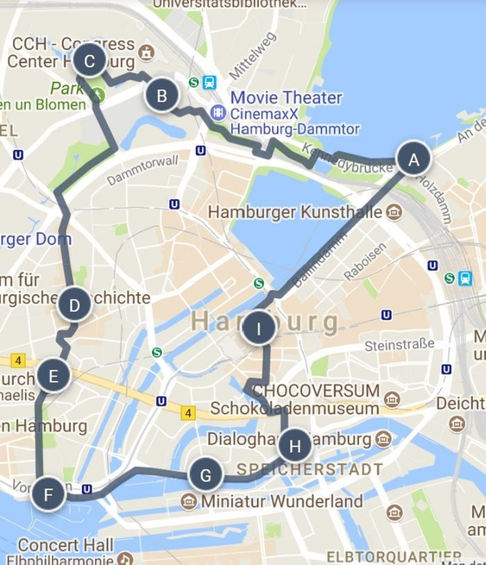 Hamburg Walking Tour Map