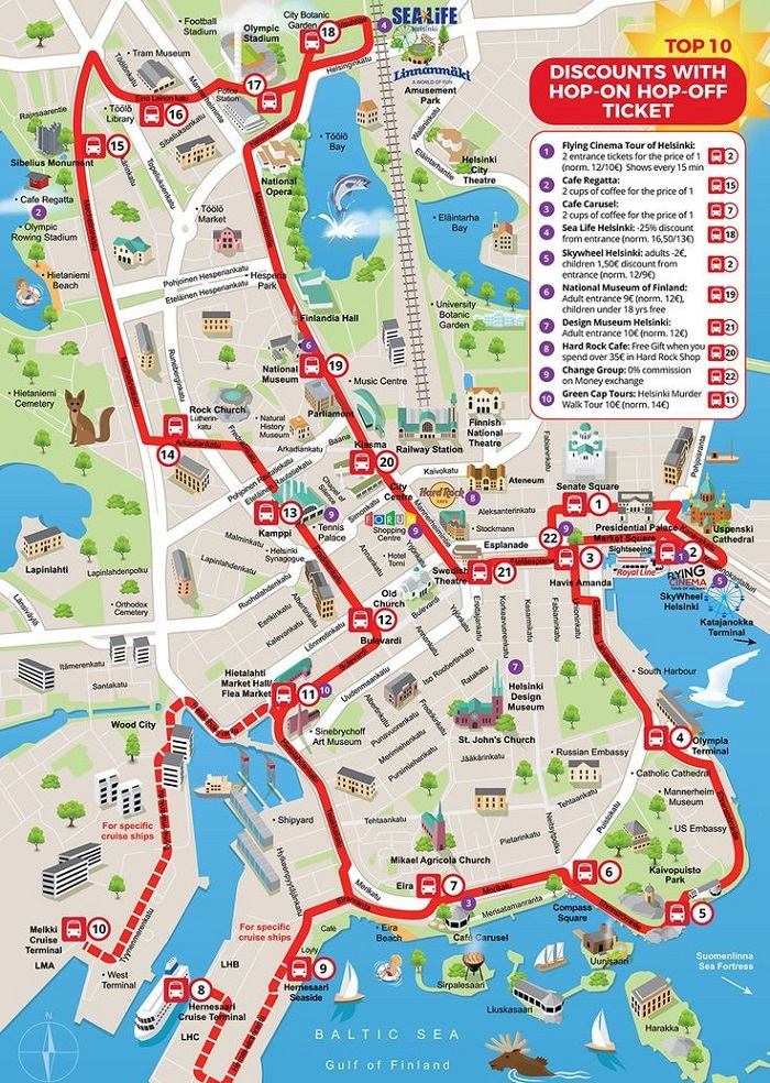 Helsinki Hop-On Hop-Off Bus Tour Map