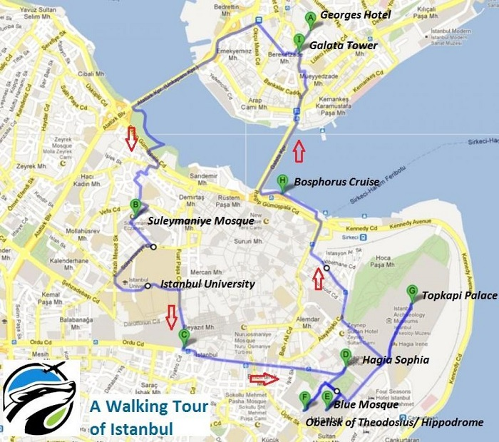 Istanbul Walking Tour Map