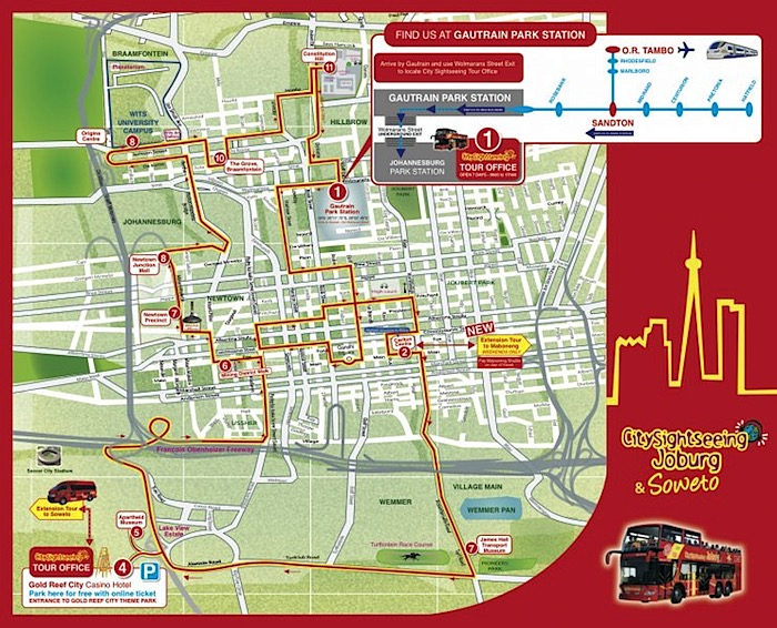 Johannesburg Hop-On Hop-Off Bus Tour Map