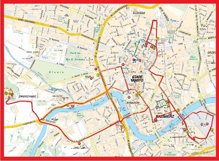 Krakow Hop-On Hop-Off Bus Tour Map