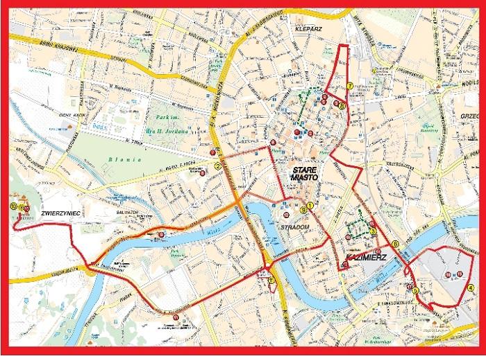 Krakow Hop-On Hop-Off Bus Tour Map