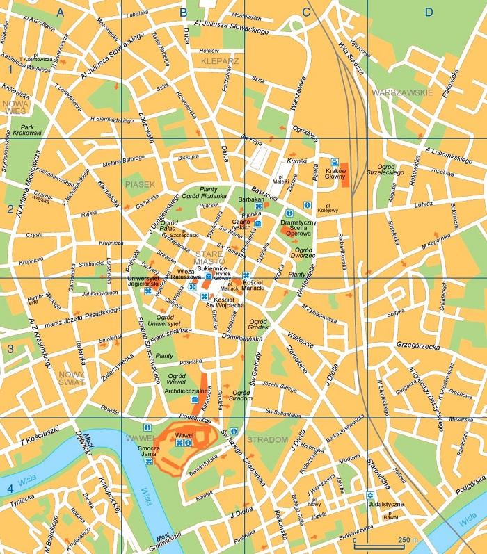 Krakow Tourist Map