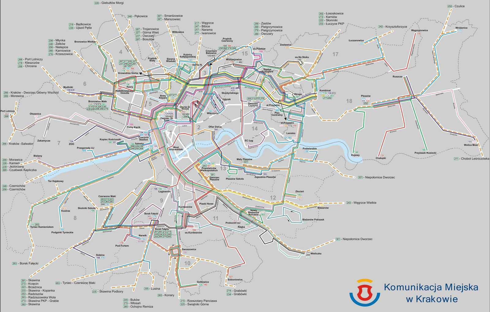 Krakow Transport Map