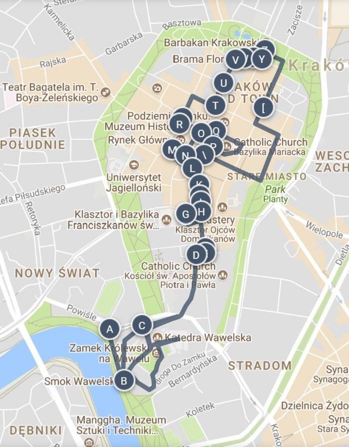 Krakow Walking Tour Map