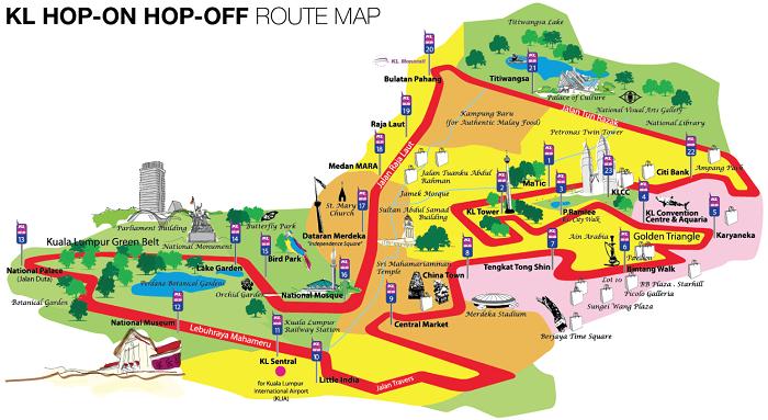Kuala Lumpur Hop-On Hop-Off Bus Tour Map