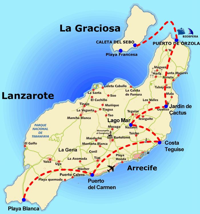 Lanzarote Walking Map
