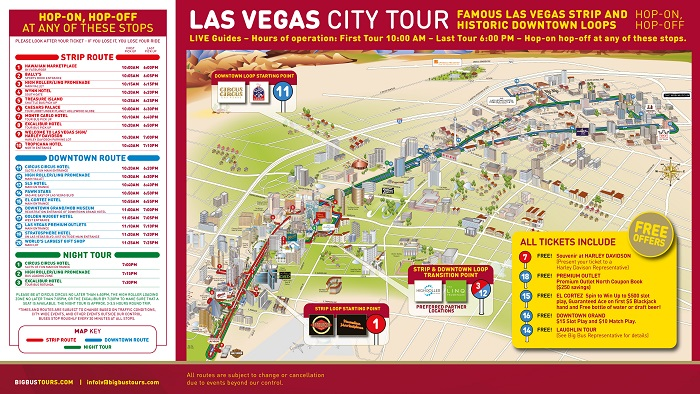 Las Vegas Bigbus Hop-On Hop-Off Bus Tour Map