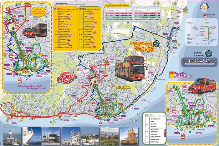 City Sightseeing Lisbon Hop-On Hop-Off Bus Route Map