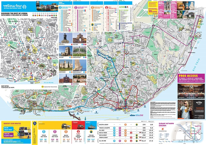 Lisbon Yellow 4 in 1 Hop-On Hop-Off Bus and Tram Map