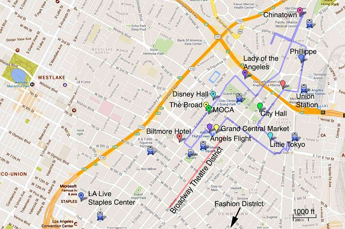 Los Angeles Walking Tour Map