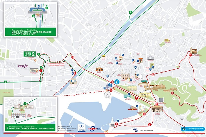 City Sightseeing Hop-On Hop-Off Malaga Bus Tour Map