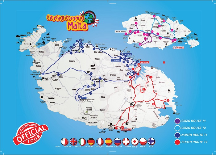 Malta Hop-On Hop-Off Bus Tour Map