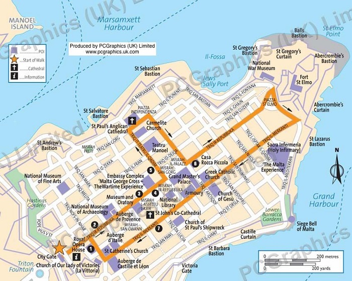 Malta Walking Tour Map