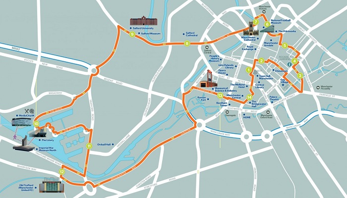 Manchester Hop-On Hop-Off Bus Tour Map